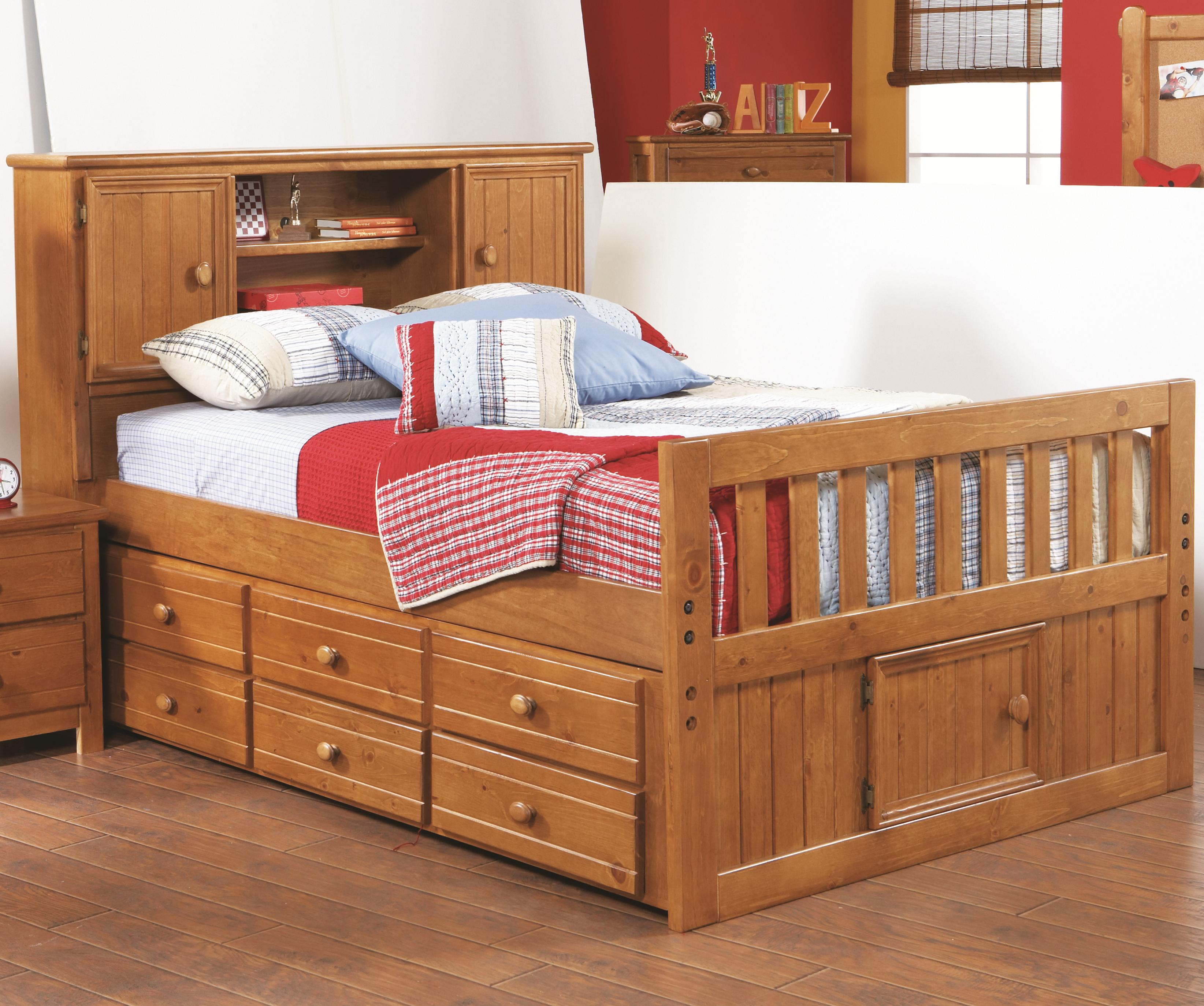 Morris Home Furnishings Cisco Cisco Full Captains Bed with Bookcase - Item Number: 90H-717+739+740