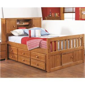 Morris Home Furnishings Cisco Cisco Full Captains Bed with Bookcase