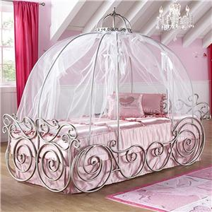 Canyon Disney Princess Full Carriage Canopy Bed With Scroll And Bow Detail