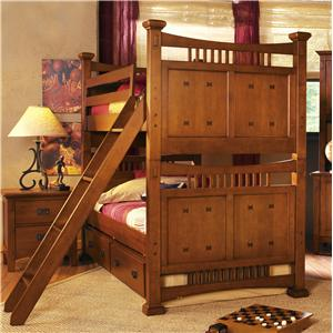 Canyon Mission Twin Mission Bunk Bed W Ladder And Trundle