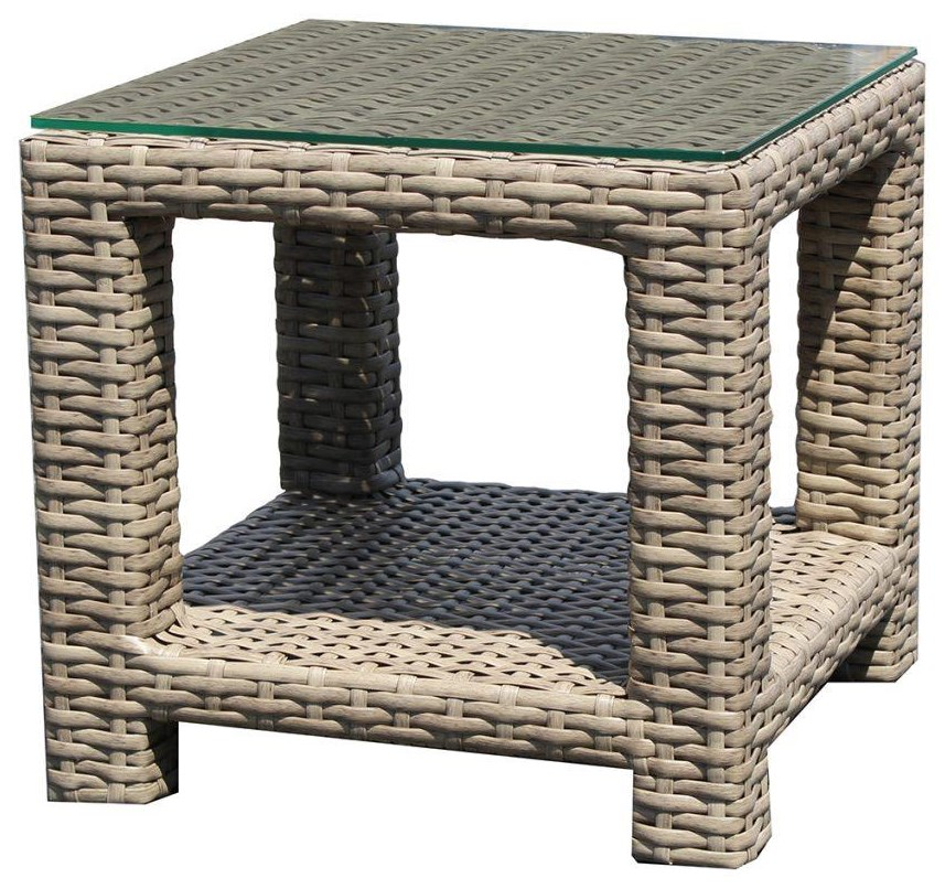 Grand Stafford Glass Top End Table by Cape May Wicker at Johnny Janosik
