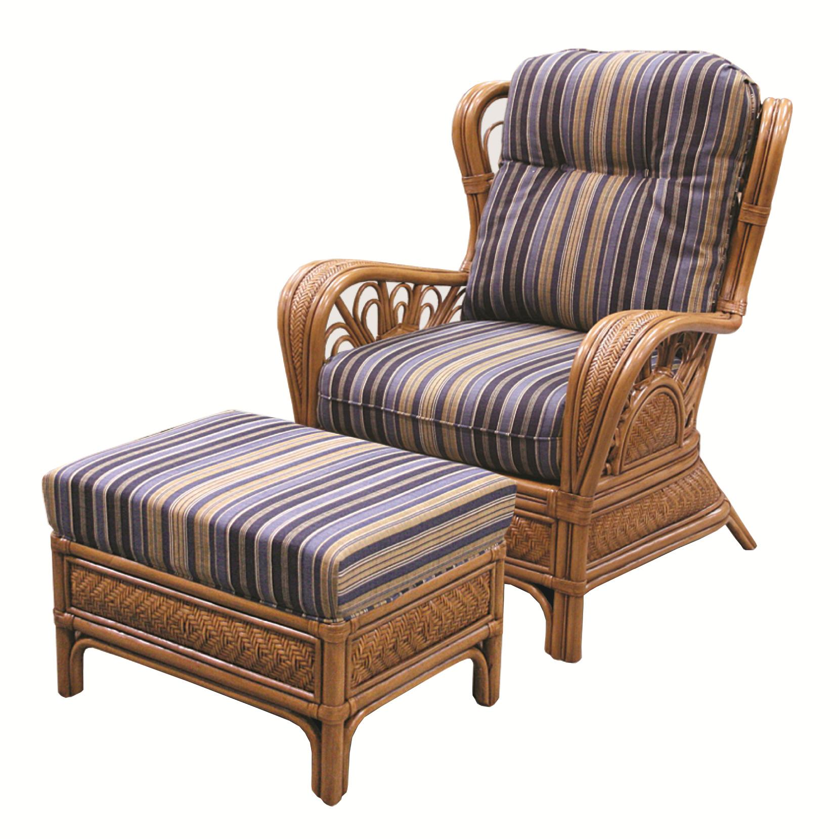 Wicker Rattan Chair and Ottoman