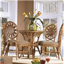 Capris Furniture 321 Collection Glass Top Wicker Rattan Round Table - Shown With Coordinating Side Chairs