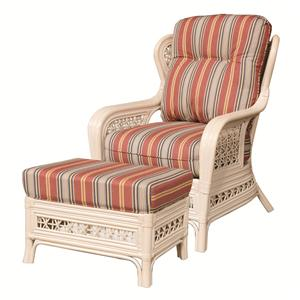Capris Furniture 341 Collection Wicker Rattan Chair and Ottoman