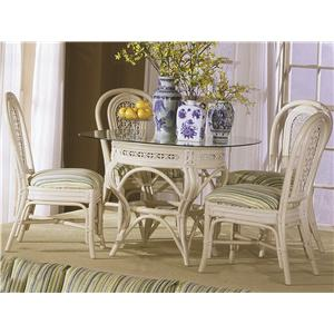 Capris Furniture 341 Collection Glass Top Table With Four Side Chairs