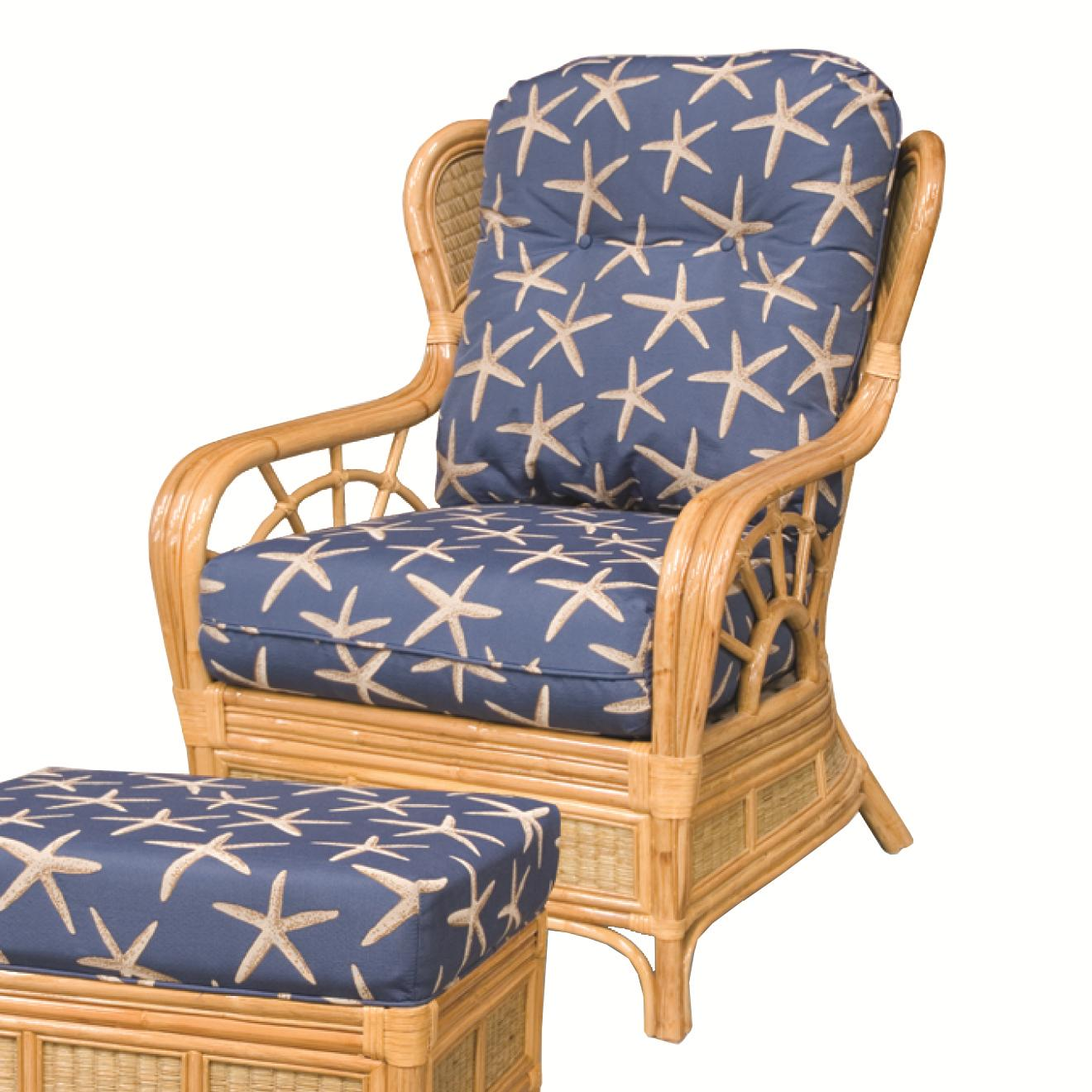 Wicker Rattan Upholstered Chair