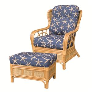 Capris Furniture 381 Collection Wicker Rattan Chair and Ottoman