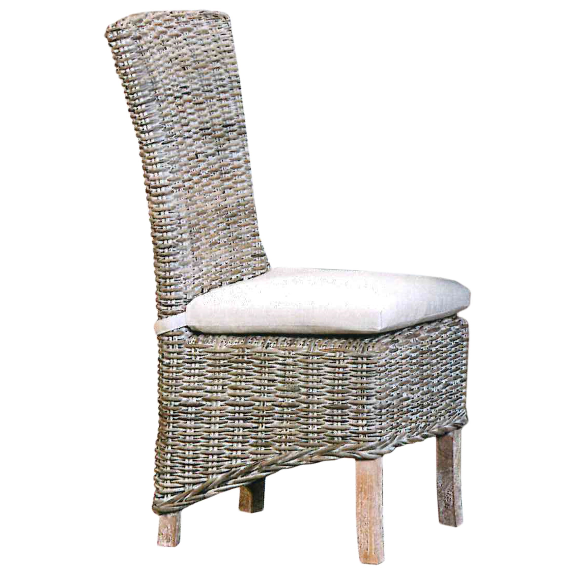 Capris Furniture Chairs and Ottomans Weathered Gray Wicker Dining Chair with Tie-On Cushion