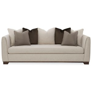Caracole Upholstery Moderne Tuxedo Sofa with Channel Stitching and Scatterback Pillows by Caracole