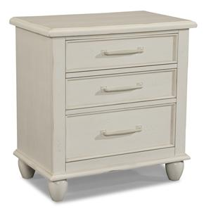 Easton Collection Sea Breeze White 3 Drawer Nightstand