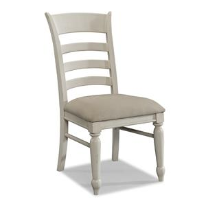 Easton Collection Sea Breeze White Ladder Back Side Chair