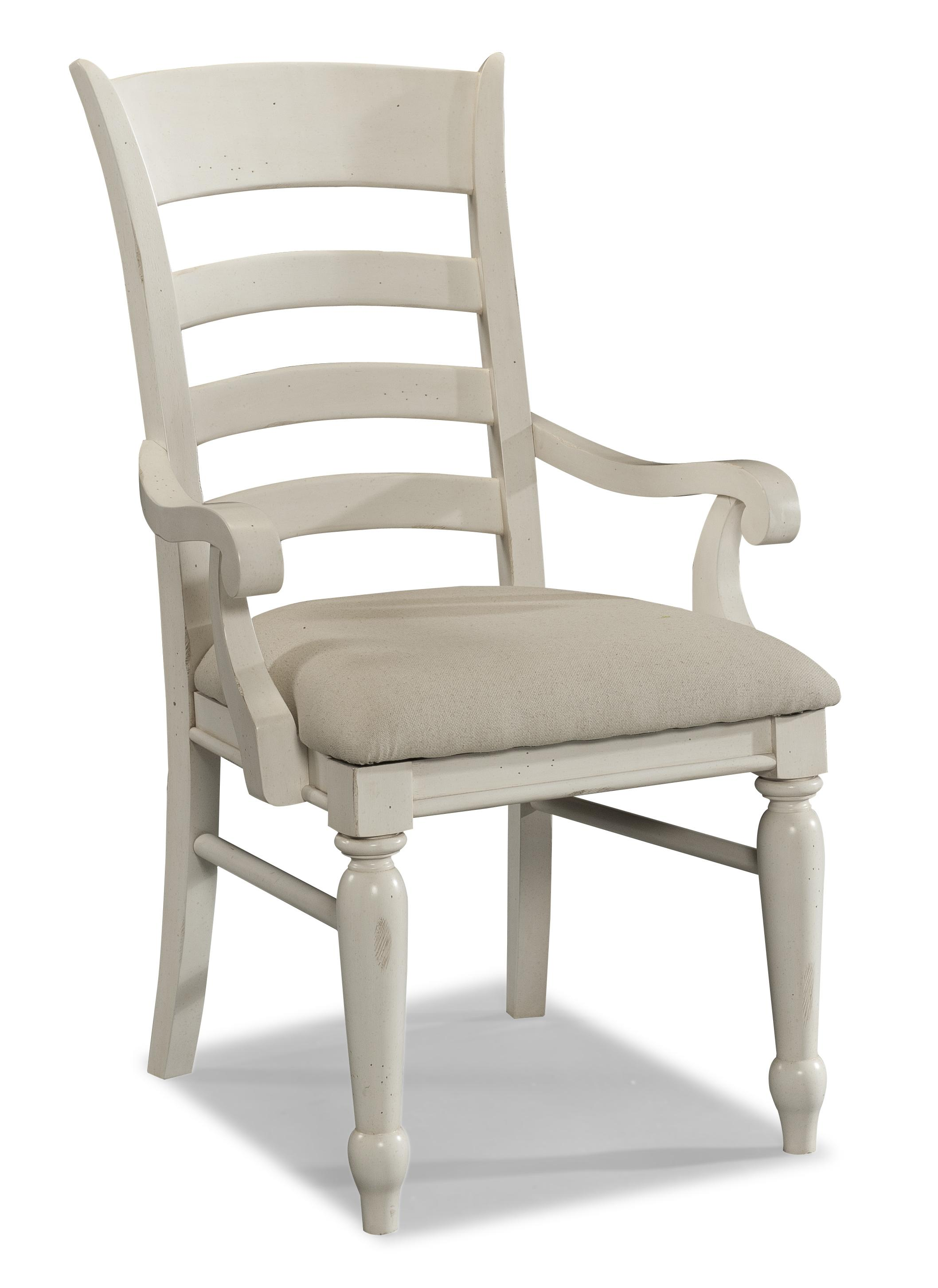 Easton Collection Sea Breeze White Ladder Back Arm Chair - Item Number: 424-906 DRC