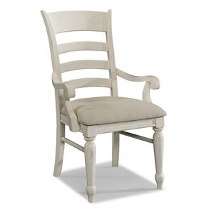 Carolina Preserves by Klaussner Sea Breeze White Ladder Back Arm Chair
