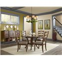 Easton Collection Farmhouse 54 Inch Round Dining Table with Pedestal Base