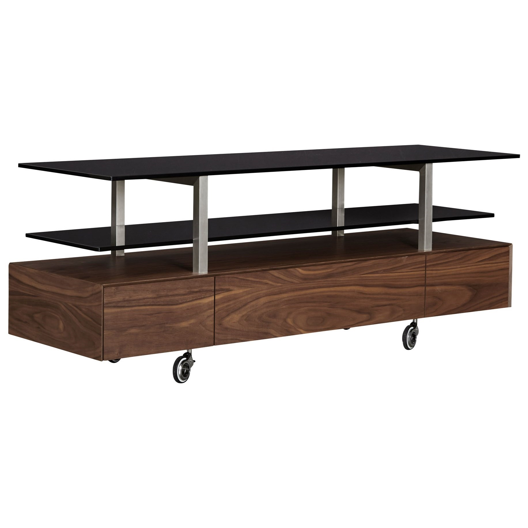 Glass Top TV Console with Casters
