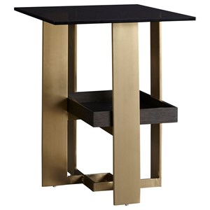 Casana Lombard Glass Top End Table