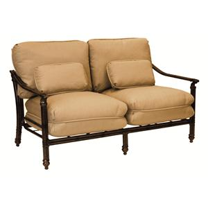 Castelle by Pride Family Brands Coco Isle Cushioned Loveseat with Two Kidney Pillows