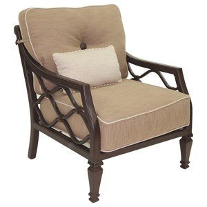 Castelle by Pride Family Brands Villa Bianca Cushioned Lounge Chair w/ One Kidney Pillow