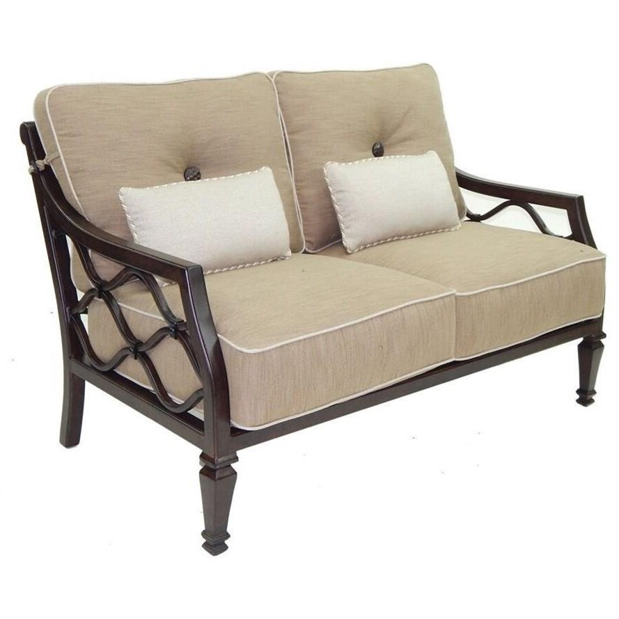 Villa Bianca Cushioned Loveseat w/ Two Kidney Pillows by Castelle by Pride Family Brands at Baer's Furniture