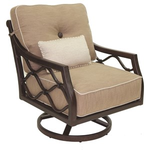 Castelle by Pride Family Brands Villa Bianca Cushioned Lounge Swivel Rocker w/ One Kidney