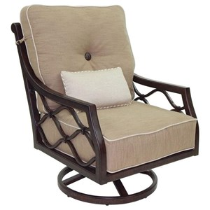 High Back Cushioned Lounge Swivel Rocker w/