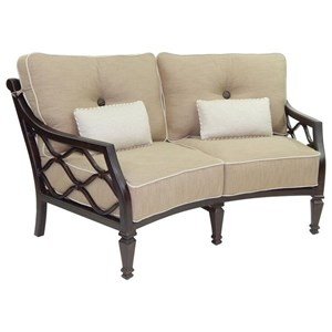 Castelle by Pride Family Brands Villa Bianca Cushioned Crescent Loveseat w/ Two Kidney Pi
