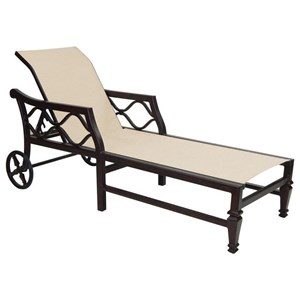 Castelle by Pride Family Brands Villa Bianca Adjustable Sling Chaise Lounge w/ Wheels