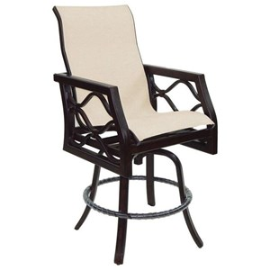 Castelle by Pride Family Brands Villa Bianca High Back Sling Swivel Counter Stool