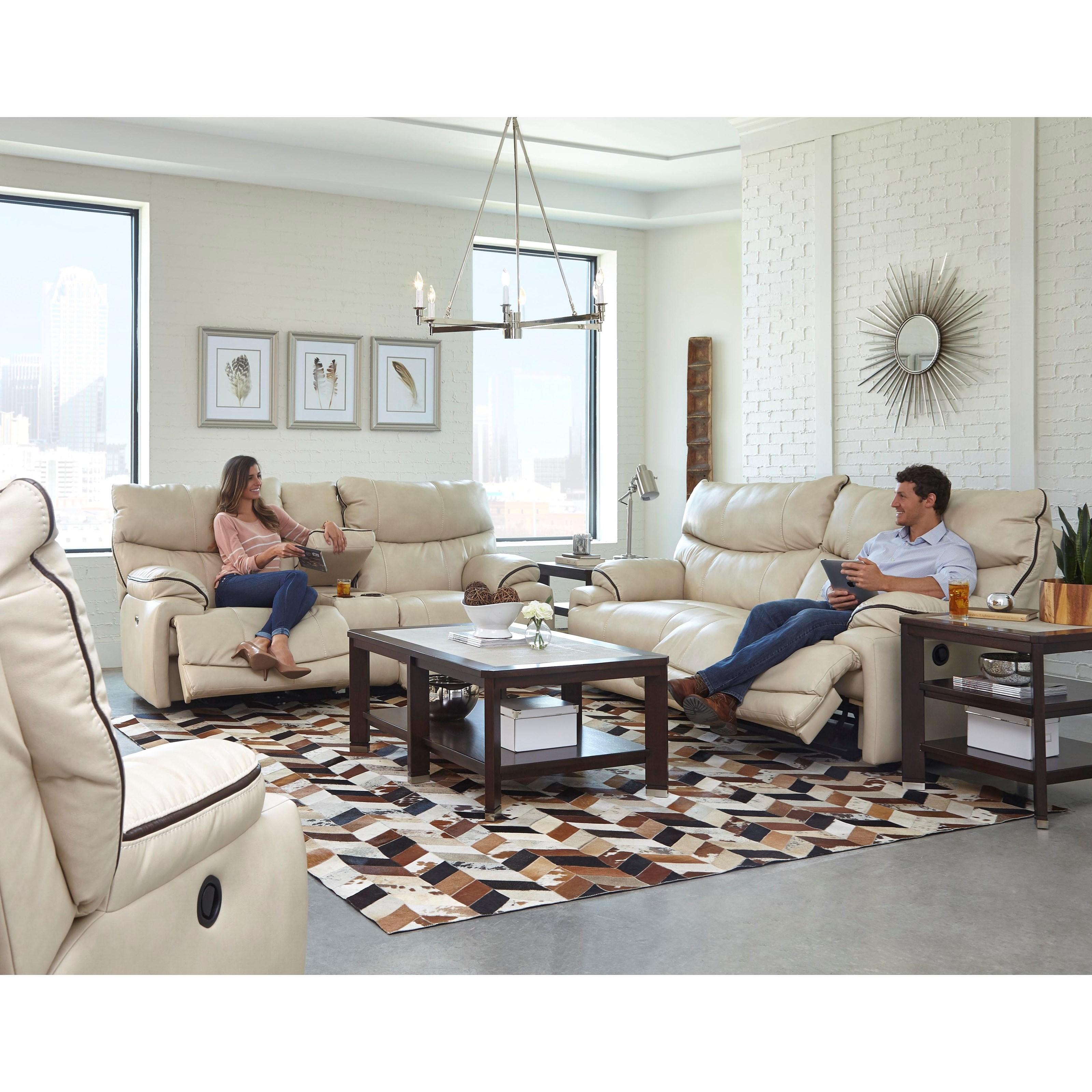 Catnapper larkin power lay flat reclining sofa knight for Lay z boy living room set