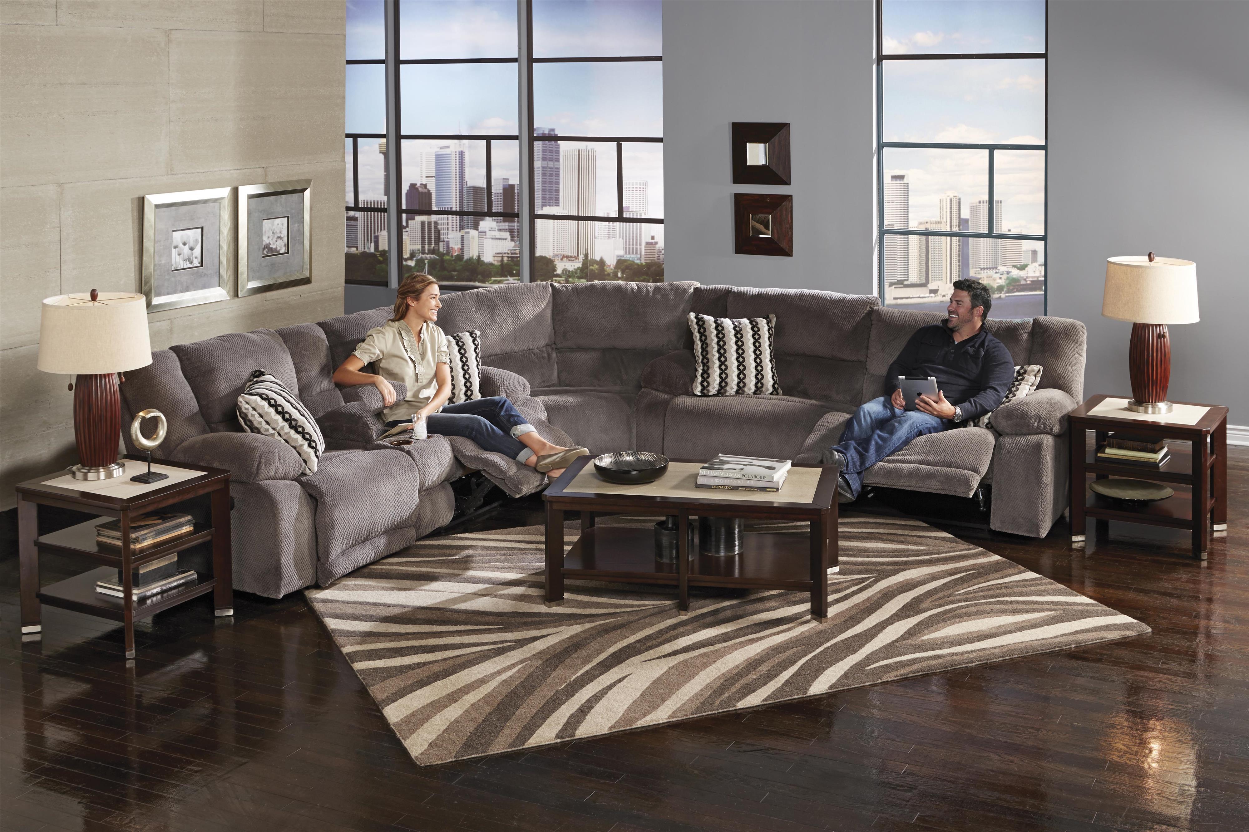 Catnapper Hammond Reclining Sectional Sofa - Item Number: 1441-2776-58+1448+1449