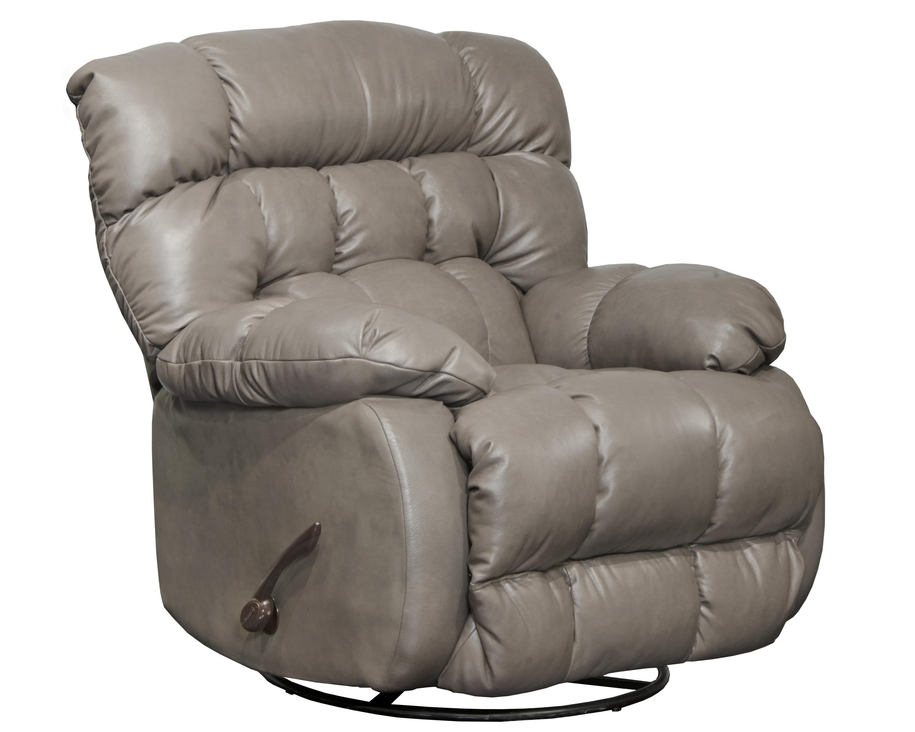 Catnapper 4213 Leather Swivel Recliner - Item Number: 4213 Grey