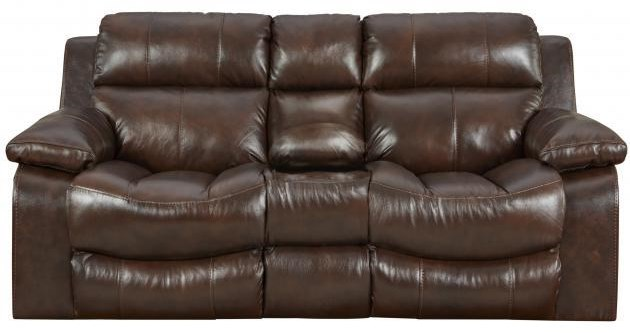 Power Leather Console Reclining loveseat