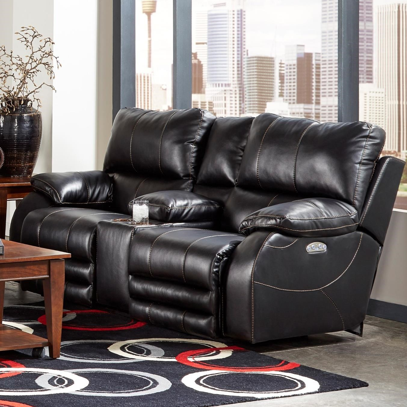 Catnapper Reclining Collection Power Headrest Power Lay Flat Loveseat - Item Number: 64279-Black