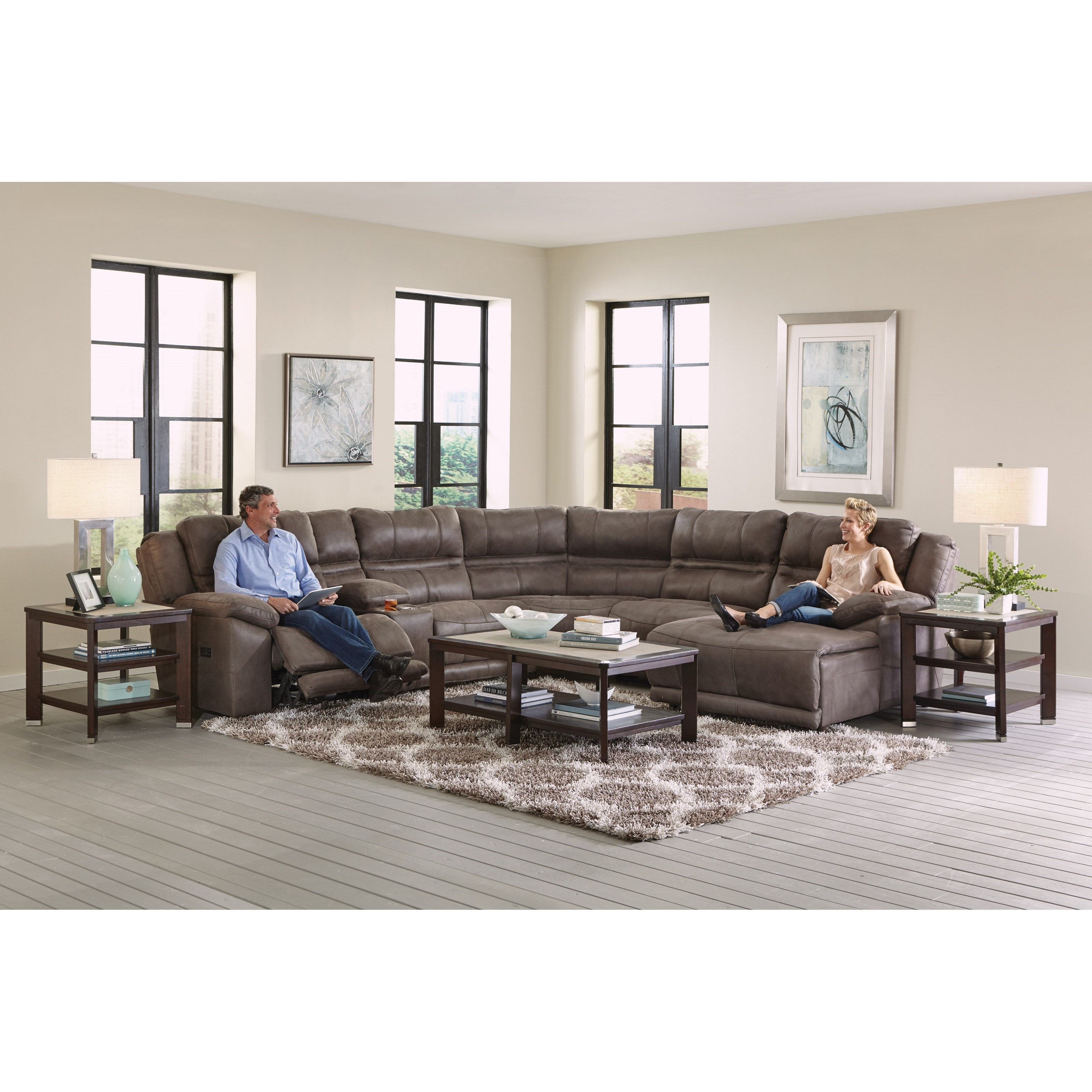 Catnapper Braxton Five Seat Reclining Sectional Sofa