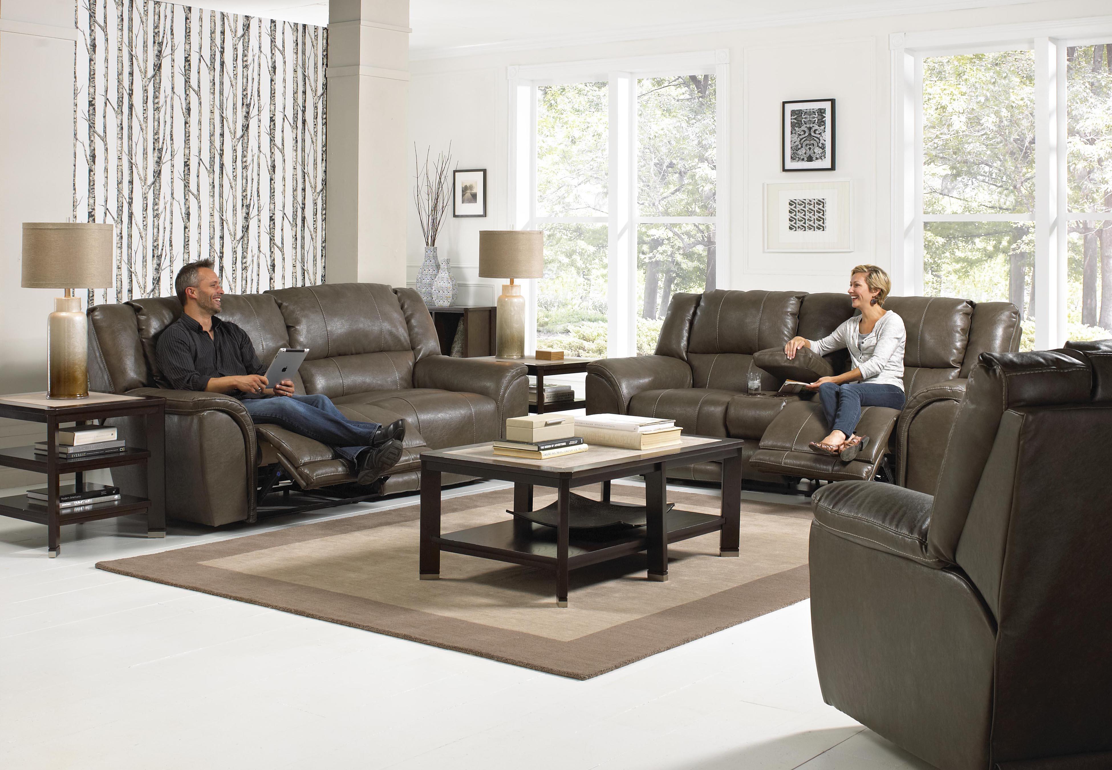 Catnapper carmine power lay flat reclining sofa knight for Lay z boy living room set