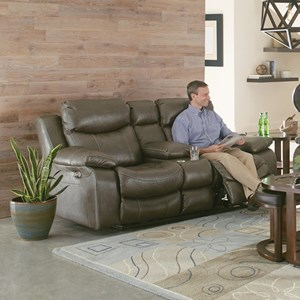 Catnapper Connor Lay Flat Power Reclining Console Loveseat