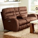 Catnapper Kelsey Contemporary Power Lay Flay Reclining Console Loveseat with Power Headrest and Lumbar - Item Shown May Not Represent Exact Features Indicated