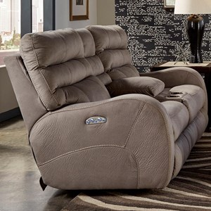 Catnapper Kelsey Power Lay Flat Reclining Console Loveseat