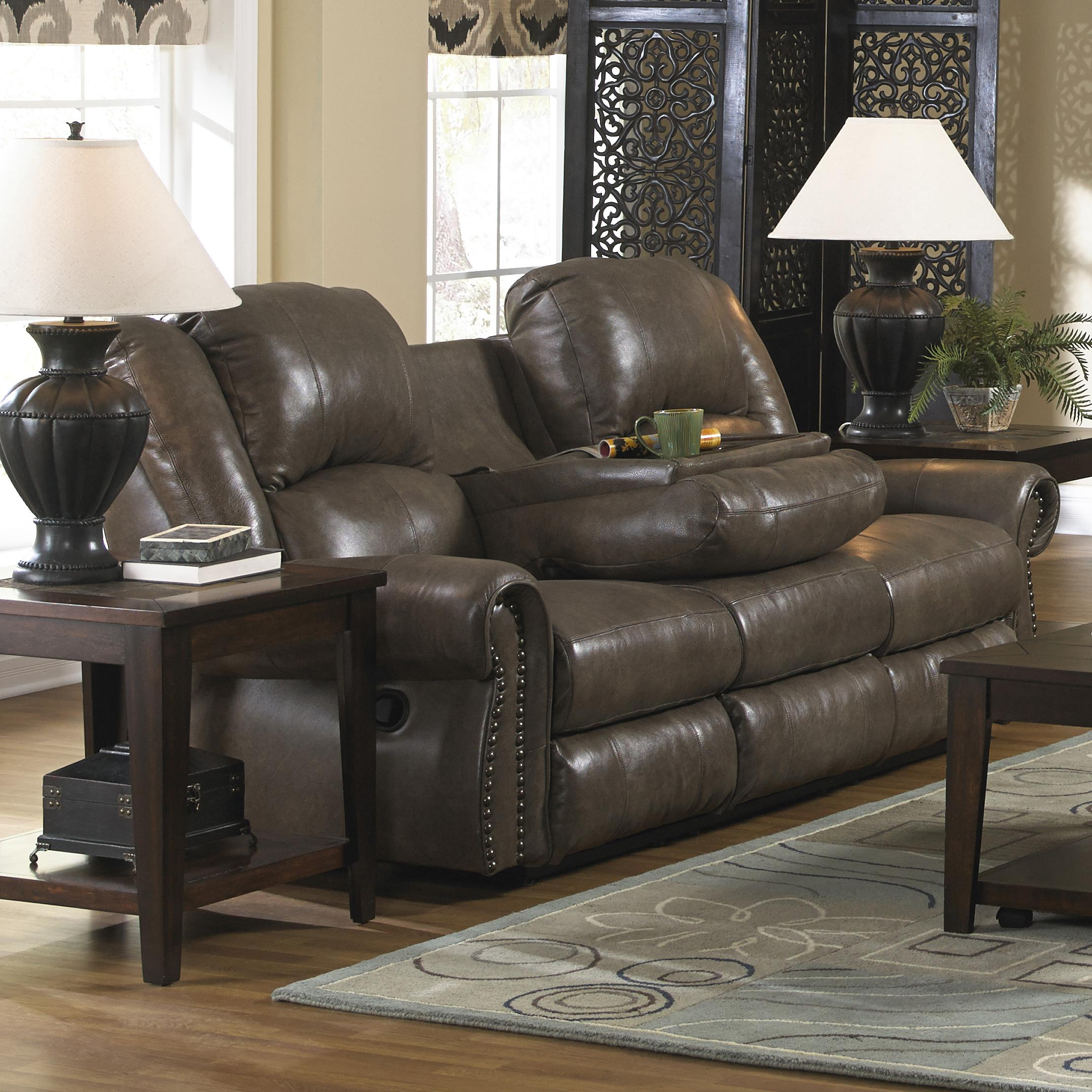 Catnapper Livingston Power Reclining Sofa with Drop Down Table - Item  Number: 64505-smoke