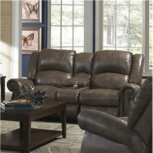 dual gliding console loveseat with nailhead trim