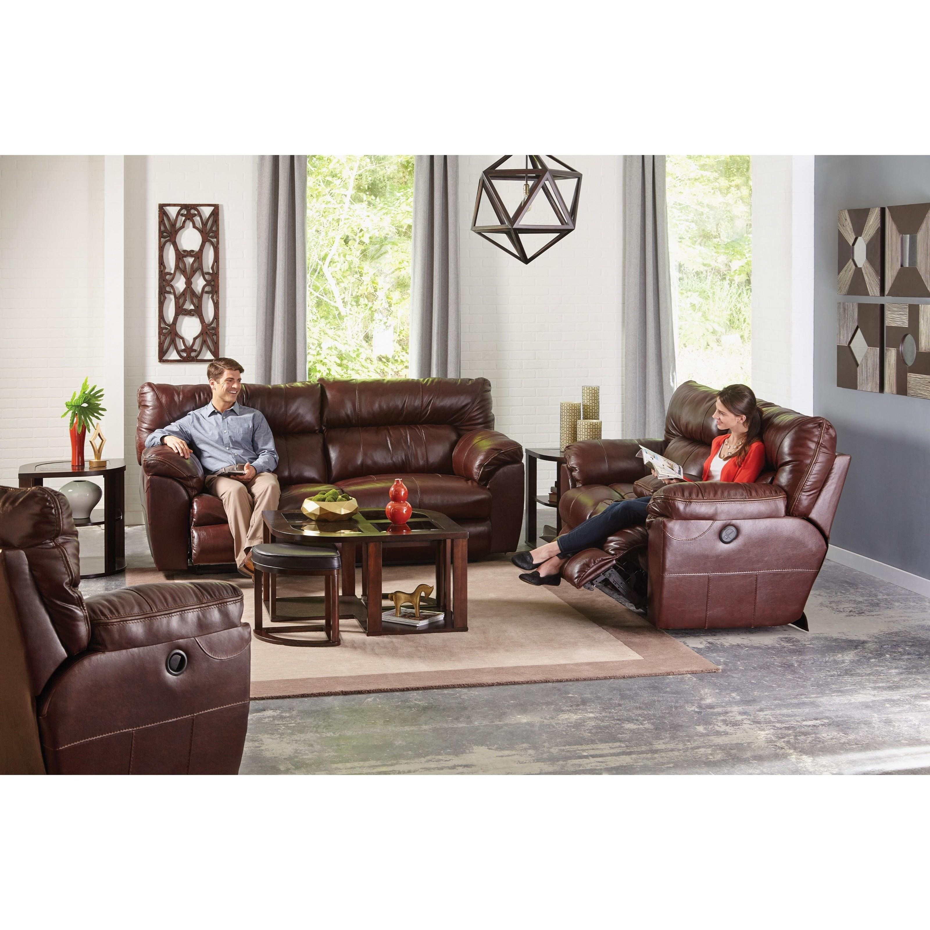 Catnapper Milan Casual Leather Lay Flat Reclining Sofa