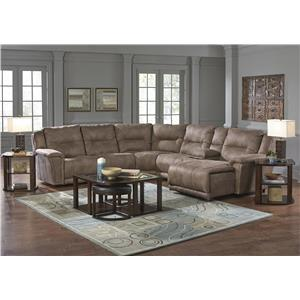 Catnapper Montgomery Reclining Sectional with 4 Seats and Chaise