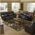 Catnapper Nolan  Extra Wide Reclining Console Loveseat with Storage and Cup-Holders - Shown with Coordinating Collection Sofa. Cuddler Recliner Shown Right Corner. Loveseat Shown May Not Represent Exact Features Indicated.