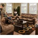 Catnapper Portman  Casual Styled Reclining Loveseat with Slight Country Charm - Shown with Coordinating Collection Sofa
