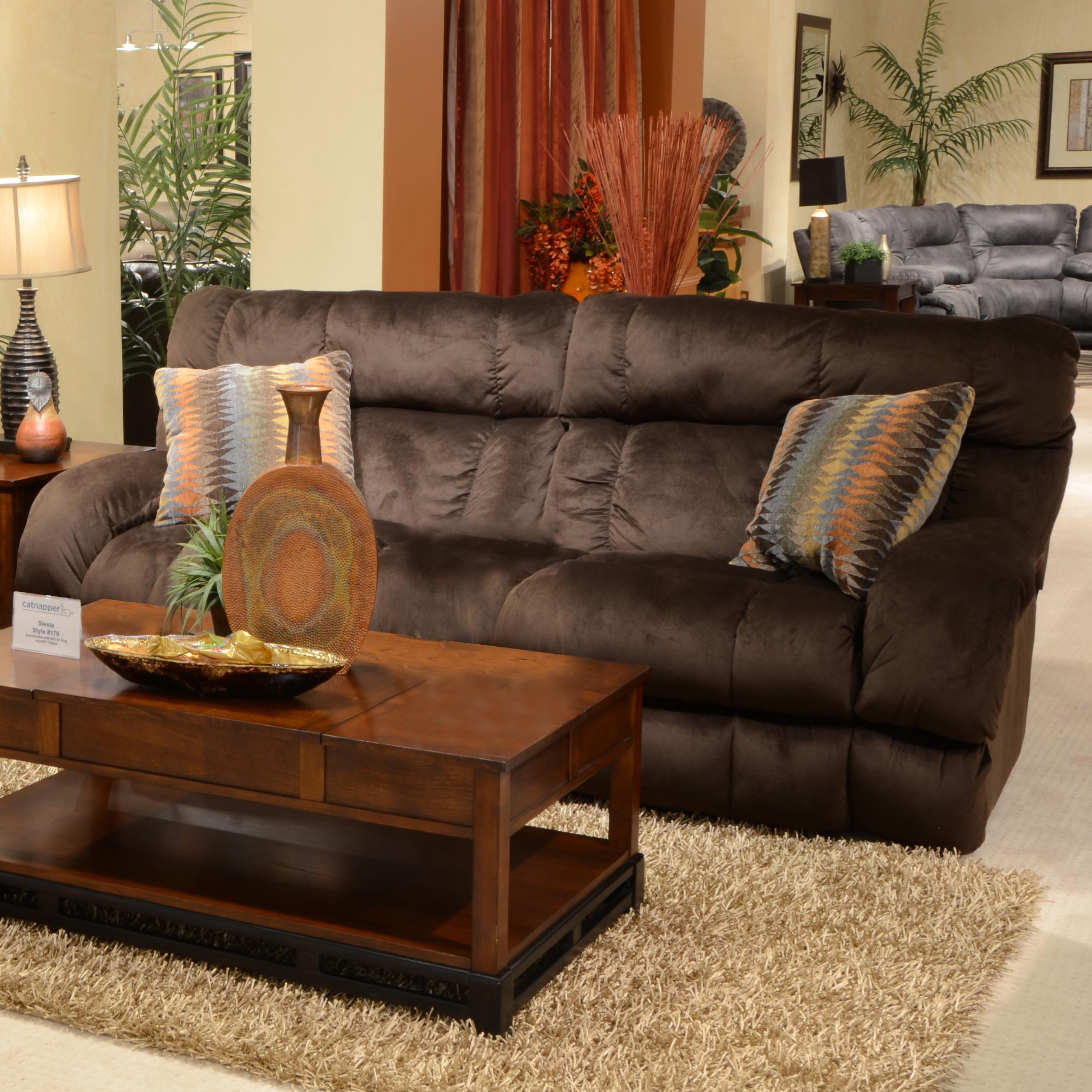 Catnapper Siesta Lay Flat Reclining Sofa   Item Number: 1761 Chocolate