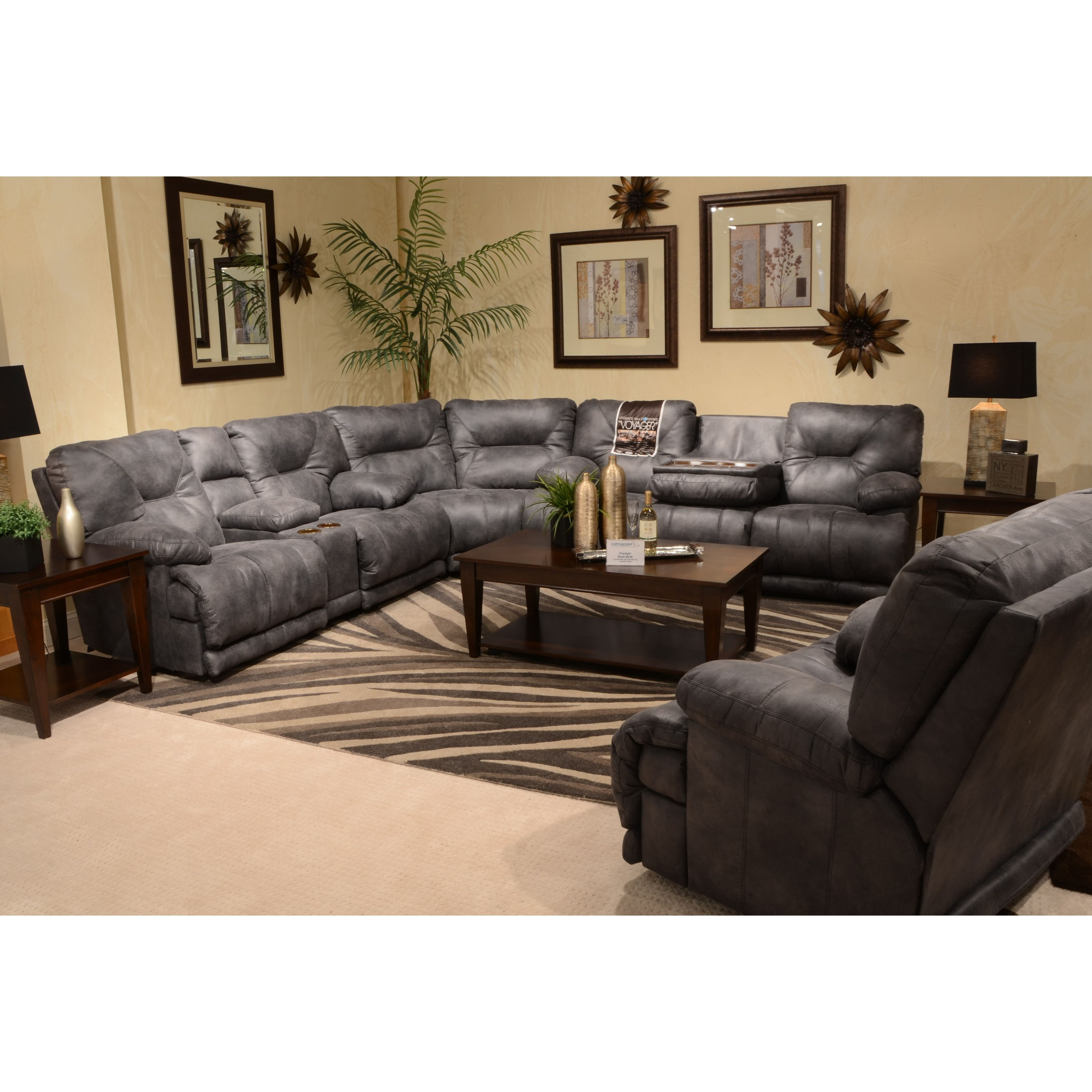 Catnapper Voyager Lay Flat Reclining Console Love Seat
