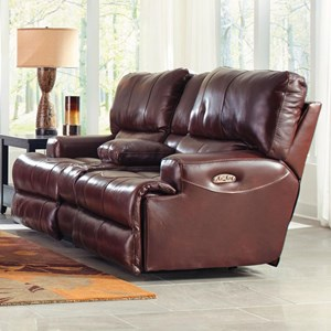 Catnapper Wembly Power Lay Flat Reclining Console Loveseat