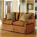 Century 2000 Eight Step Custom Multiple Length Customizable Sofa - Shown in 74 Inches, with a Straight Cushion Lawson Arm, Boxed Welt, and Upholstered Waterfall Base