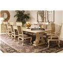 Century Caravelle Rectangular Dining Table w/ Stretcher - 832-302 - Shown as part of table set