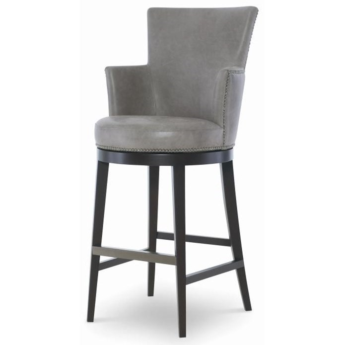 Century Century Trading Company Leather Swivel Bar Stool - Item Number: PLR-3856B